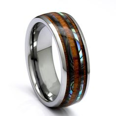 Tungsten Ring With Hawaiian Koa Wood Ring And Abalone Inlay, 8mm Comfort Fit Wedding Band Tungsten Mens Rings, Tungsten Carbide Wedding Bands, Deer Antler Wedding Band, Turquoise Wedding Band, Wood Rings, Wedding Ring Bands, Cinderella Wedding, Rings For Men, Waterproof Epoxy
