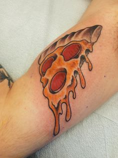 Neotraditional pizza slice by Bryan Turnbull at Government St. Tattoos; Victoria, Canada.