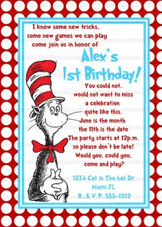 Dr Seuss Party Invitations