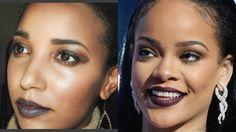 rihanna, makeup, vmas, awards, brown makeup, dark lips,