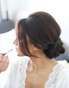 45 Glamorous Wedding updos for long and medium hair   Minimalist bridal low bun for a simple but very stylish and elegant wedding hairstyle   CircleTrest