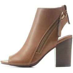 Charlotte Russe Open Toe Slingback Zipper Booties ($43) ❤ liked on Polyvore featuring shoes, boots, ankle booties, brown, chunky-heel boots, zipper booties, open toe boots, vegan booties and open-toe boots