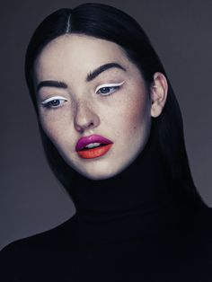 I am in love with this make up.  The two tone lips are heaven and the white eyeliner is perfection.  Alex Evans, Toronto Fashion and Portrait Photographer. @portfoliobox