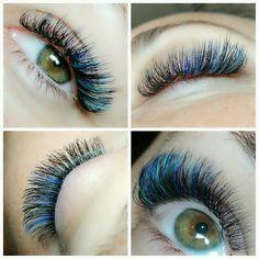 peacock lashes  Dori used Lash Affair D .07 8-13 & C.07 Blue & Teal.  #lashaffairbyjparis #eyelashextensions #premiereorlando #lashaffair
