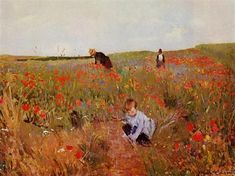 Red poppies, 1880 by Mary Cassatt. Impressionism. genre painting. Philadelphia Museum of Art, Philadelphia, PA, US