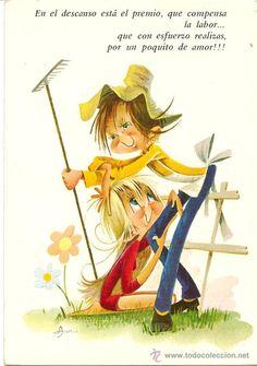 Bonita postal: Granjeros. Dibujo de Asun. C y Z nº 7248/31-C. Editada en el año 1971
