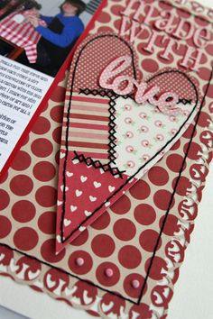 paper scrap heart with stitching