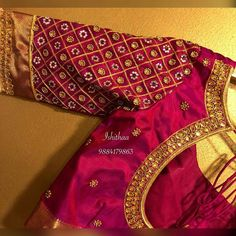 Beautiful maroon color designer blouse with buti design hand embroidery kundan and bead work. Ping on 9884179863 to book an appointment. Wedding Saree Blouse Designs, Pattu Saree Blouse Designs, Fancy Blouse Designs, Blouse Neck Designs, Saree Wedding, Bridal Lehenga, Work Blouse, Blouse Simple, Blue Blouse
