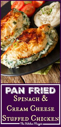 Healthy Recipes : Illustration Description This Spinach & Cream Cheese Stuffed Pan Fried Chicken Breasts recipe is a delicious low carb/Keto chicken recipe that makes low carb eating easy! -Read More – Fried Chicken Breast, Pan Fried Chicken, Chicken Breasts, Keto Chicken Wings, Roasted Chicken, Cream Cheese Spinach, Cream Cheese Chicken, Cream Cheeses, Healthy Recipes