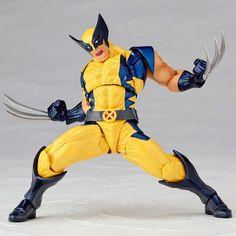 Drawing Marvel Comics New in box Kaiyodo Revoltech Amazing Yamaguchi Wolverine Action Figure X-Men Toy Logan Wolverine, Wolverine Art, Character Drawing, Comic Character, Blue Costumes, Yellow Costume, O Pokemon, Anime Poses, Action Poses