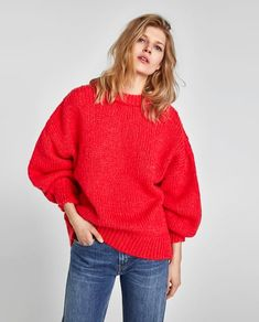 Image 2 of SWEATER WITH PUFF SLEEVES from Zara