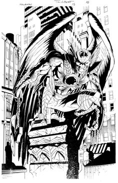 Hawkman black & white - Art Thibert