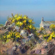 British Artist Rex PRESTON-Cottage by the Sea, Cornwall