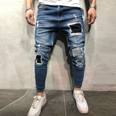 Men's Fashion Jeans with Denim Joggers, Denim Jeans Men, Patched Jeans, Ripped Jeans Style, Black Ripped Jeans, Unisex Fashion, Denim Fashion, Repair Jeans, Rare Clothing