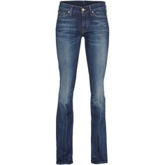 SEVEN FOR ALL MANKIND The Classic Bootcut Mid Blue Washed-out bootcut... ($135) ❤ liked on Polyvore featuring jeans, low rise bootcut jeans, bootcut flare jeans, bootcut jeans, flared jeans and low rise skinny jeans