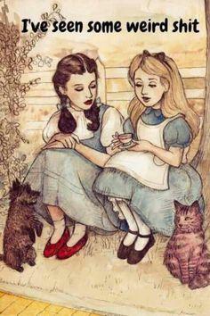 Alice & Dorothy having tea