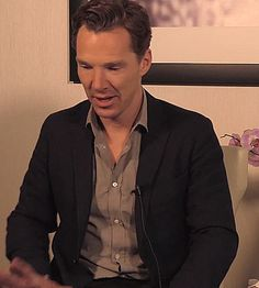 """geekgirl1:  benedictcumberbatchsitsinchairs:  This is the greatest accidental GIF I've ever made.  Benedict Cumberbatch, 38. The """"3"""" is silent, or perhaps it is the """"8."""" Depends on the day, really. <--- this comment! So funny!"""