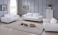 Beverly Hills Furniture Julie White White ultra-contemporary sofa w/ metal legs Minimalist top grain leather Contemporary Chairs, Contemporary Home Decor, Cleaning Leather Furniture, Leather Sofa Set, White Leather, Couch Set, White Sofas, Living Room Sets, Sofa Design