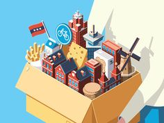 Moving Amsterdam designed by Coen Pohl. Connect with them on Dribbble; the global community for designers and creative professionals. Isometric Art, Isometric Design, Manga Illustration, Graphic Design Illustration, People Illustration, Storyboard, Amsterdam, Branding, Illustrations And Posters