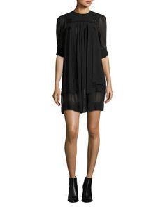 ISABEL MARANT EMBROIDERED CHIFFON SHIFT DRESS, BLACK. #isabelmarant #cloth #
