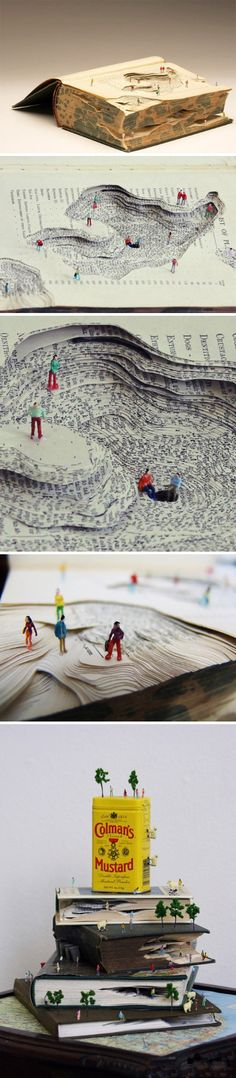 Fictional Landscapes by Kyle Kirkpatrick #Diorama #Books #Landscape amazing diorama on repurposed books paper art fun sculptures