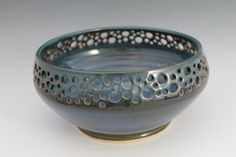 Coffee Table Bowl  Blue with round cutouts around by NewDayPottery,