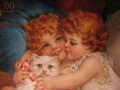 Vintage cat with girls ~ Frances Brundage