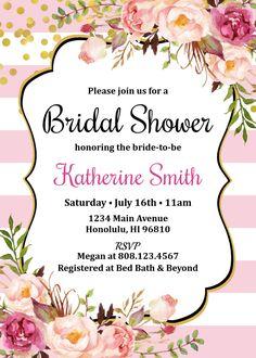 Black & White Bridal Shower Invitation Floral Bridal Shower