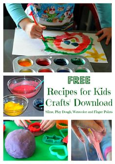 Recipes for kids crafts--FREE one-page download. Includes DIY homemade slime, play dough, watercolor and finger paints.
