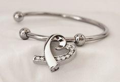 Stainless Steel Open Heart Cremation Keepsake Charm Bracelet with Fill Kit Charm Bracelet