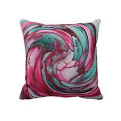 #Pink N #Teal #Abstract Art Throw Pillow #aqua #raspberry #rose #green