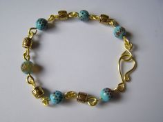 handcrafted bracelet goldplated copper wire links with by terramor, Copper Wire, Brass, Moroccan Style, Agate Beads, Natural Gemstones, Turquoise Bracelet, Barrel, Beaded Bracelets, Jewellery