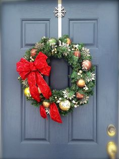 Christmas Wreath with Bow  Copper and Gold  by WreathsByRebeccaB, $58.00