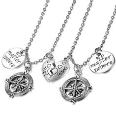 Boniskiss Jewelry Helm Pendant Heart Necklace For Women Mother & Daughter Lovers Stainless Steel Fashion Necklace