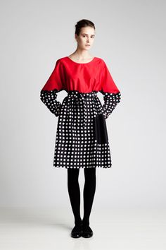 Marimekko dress: love the color blocking with pattern.