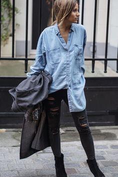 Las camisas o blusas de denim son un básico que debes tener en tu clóset. ¡Inspírate con estos 10 looks de street style para esta primavera!