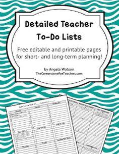 Classroom Freebies Too: Editable teacher to-do lists!