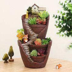Hot Sale Resin Flower Pot Succulent Plants Pot Garden Bonsai