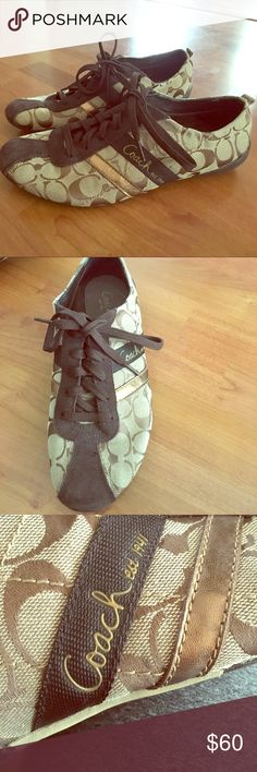 Coach Sneakers Super cute coach sneakers! Only worn twice! Great condition! Coach Shoes Sneakers