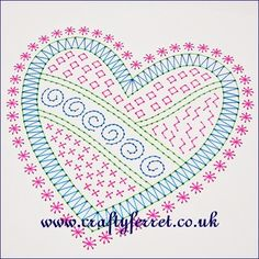 Stitching on card large doodle heart embroidery pricking pattern