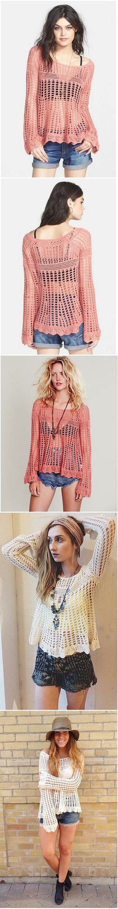 Free People. 'Annabelle' Crocheted Pullover.  #crochet <3ceruleana<3