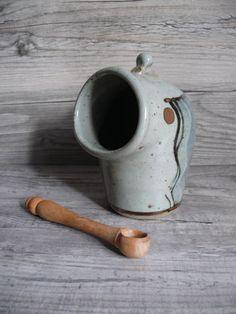 Vellow Somerset David Winkley Open Salt Cellar & Wooden Spoon English Pottery $46.99