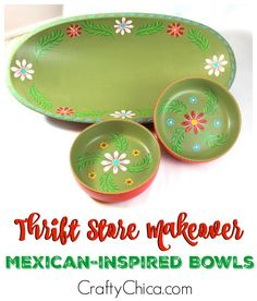 How to give a Mexi-makeover to your thrift store finds. These painted wood bowls are fabulous - here's how to make them!