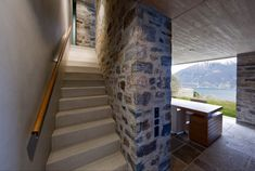 Stone House KÜ in Brione sopra Minusio, Ticino, Switzerland. Swiss House, Recycled Furniture, Interior Architecture, Stairs, House Design, The Originals, Stone, Switzerland, Interiors
