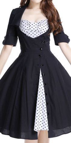 Rockabilly Side Button Polka-Dot Bow Dress by Amber Middaugh