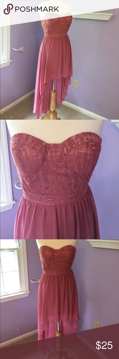 Pink High Low Strapless Bustier Dress Mauve pink Strapless high low dress with bustier front detail. Skirt is lined underneath, side zip. Stretchy and comfortable. Qurio by Aggie Dresses High Low