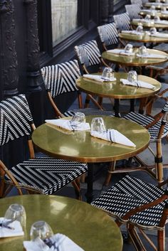 love these chairs with the gold tables! - ACE Hotel