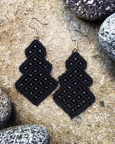 A personal favorite from my Etsy shop https://www.etsy.com/listing/520440790/macrame-earrings-black-with-glass-shiny