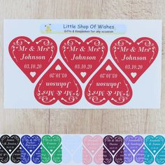 Check out the deal on Personalised Wedding Stickers ANY TEXT Swirl Heart Love Hearts (3cm or 6cm) at Little Shop of Wishes