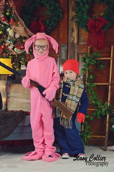 """A Christmas Story"", stacy collier photography, bunny suit, randy, ralphy, leg lamp, you""lol shoot your eye out, I can't put my arms down, red Ryder BB gun, Christmas, family photos, funny Christmas photos, Christmas photography, photography Christmas card photo, kids"
